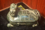 Chinese Antique Old Hard Jade Dragon Head Turtle Statue Totem Fengshui Best Buy