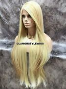 Free Part 360 Human Hair Blend Lace Front Full Wig Long Layered Light Blonde Mix