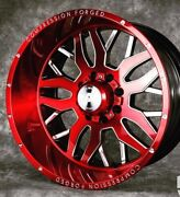 22x12 Axe Compression Forged Red Brushed Wheels 1.2 8x170 Ford F250 F350