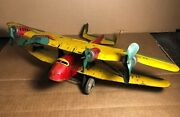 Rare Marx | 14 Tin Us Mail Biplane Airplane | Motor Does Not Work | Shows Wear