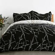 Bedsure Duvet Cover Set With Zipper Closure-black/ivory Printed Patterntwin 68
