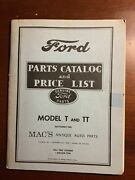 Ford Parts Catalog And Price List Model T Tt September 1980 Mac's Antique Auto
