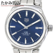 Tag Heuer Link Caliber 5 Wbc2112 Blue Dial Automatic Ss Men's Watch[b0106]