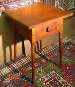 Antique American Tiger Maple And Cherry Ohio Work Table Signed And Dated 1862
