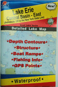 Lake Erie Central Basin- East Detailed Fishing Map, Gps Points, Waterproof L293