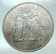 1976 France Large 50 Francs Authentic French Silver Coin W Hercules Motto I82145