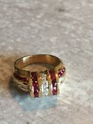 14k High End 1.46 Ctw Diamond And Ruby Bow Tie Mixed Cut Ring Vintage D Vs1