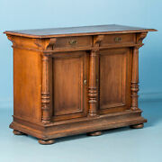 Antique 19th Century Oak Sideboard With Turned Columns, Denmark