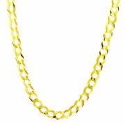 Solid 14k Yellow Gold Mens 7mm Cuban Curb Chain Link Necklace Lobster Clasp 30