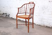 Baker Furniture Faux Bamboo And Cane Regency Armchair 1960s