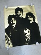 The Beatles Gold Flocked Rock Poster Vintage 1960's Rare C339
