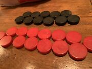 Lot 25 Vintage Swirl Oxblood Red And Black Catalin Bakelite Backgammon Checkers