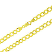 14k Yellow Gold 7mm Mens Solid Curb Cuban Chain Necklace Lobster Clasp 20- 30