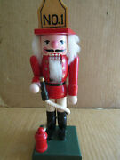 10 Wooden Nutcracker Fireman No.1 With Hydrant And Hose By Kurt Adler
