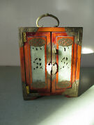 Vintage Chinese Jewelry Box - Wood Brass Hand Carved Jade - As Is