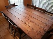 Antique Irish Pine Cottage Table And Chairs. 19th Century.