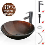 Bathroom Vessel Sink Round Brown Bowl Artistic W/ Faucet Pop Up Drain Top Combo
