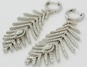 14k White Gold Fn Marquise And Round Cz 2.40ct Dangle Feather Leaf 925 Ss Earrings