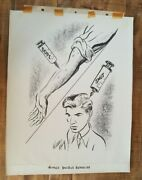 Warren King 1916-1978 Pen And Ink Hand Drawn Cartoon - Youthand039s Double Exposure