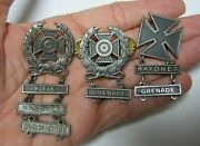 Vintage Bayonet, Rifle, Grenade, Submachine, Badges Pins Some Sterling, Lot Of 3