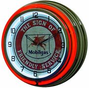 Mobilgas The Sign Of Friendly Service Red Double Neon Advertising Clock 19
