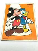 Vtg. Playskool Disney Mickey Mouse And Donald Duck Wood Frame Tray Puzzle 190-13
