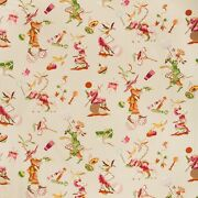 Brunschwig And Fils Chinoiserie Circus Entertainers Fabric 10 Yards Pink Multi