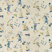 Brunschwig And Fils Chinoiserie Circus Entertainers Fabric 10 Yards Blue Multi