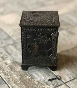 Vintage Kyser And Rex Cast Iron Young America Coin Bank 1882 W/ Key