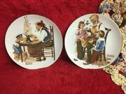 Vtg 2 Pc Norman Rockwell Decorative Plates Sailer And Toymaker Gold Trim
