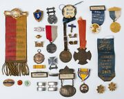 31 Antique Pins Medallions Ribbons Bars Military Marksman Agriculture Fraternal