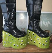 Demonia Stack 301 Platform Boots Womans Size 8 Googly Eyes One Of A Kind