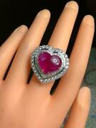 Huge 14.30ct Cabochon Heart Shape Ruby With Baguette And Round Cut Cz Party Ring