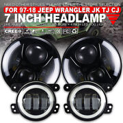 7in 280w Round With/ Halo Car Led Headlight + Halo Fog Lights Kit For 97-18 Jeep