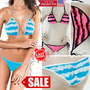 Horizontal Lace Bow Side Tie Sexy Puckered Back Scrunchie Bikini Bathing Suit Os