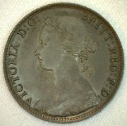 1874 H Great Britain Half Cent Bronze Coin 1/2 Penny Uk Coin Au Almost Unc