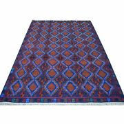 6and0391x8and039 Geometric Design Hand Made Pure Wool Colorful Afghan Tribal Rug G53329