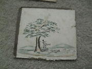 Unique Vintage Original 1834 Small Painting Man With Horn Under Tree Martin Beck