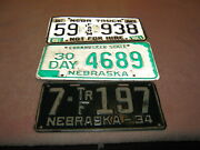 Nebraska License Plate, Lot Of 3, One Money, 1934, 30 Day, And Not For Hire/farm
