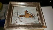 Signed Painting Fay Oil On Canvas In Frame Farm Barn Mill Scene Look Winter