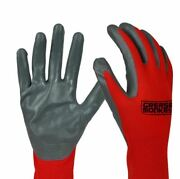New Grease Monkey Red Nitrile Coated Work Gloves Size Large