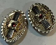 Set Of Two 10k Gold Victorian Buttons/studs, Black Enamel And Glass Stones