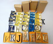 1r Vintage House Numbers Letters Hardware Slaymaker Brass Old Store Stock 54 Pc