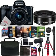 Canon Eos M50 Mirrorless Camera Black With 15-45mm + Ef-m 22mm Lens 64gb Kit