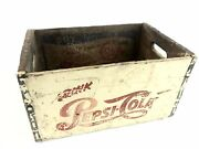 Vintage Pepsi Wooden Crate Drink Buy On The Inside 4 Sided Cream Colored