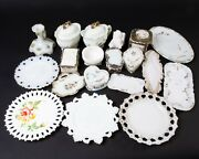 Lot Of 19 Vintage Milk Glass Objects Plates Trinket Boxes Trays Cream And Sugar +