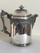 Forbes Silver Co Quadruple Repousse Silverplate Antique Large Water Pitcher Jug