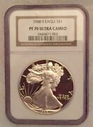 1988-s Proof Silver American Eagle Ngc Pf70 Ucam High Reflection Fields