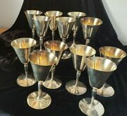 Metal Goblet Set 9 Silverplate Wine Chalice Mark Taber And Tibbits Drum Initial A