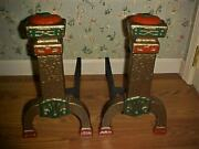 Antique Vintage Cast Iron Pullman Andirons Arts And Crafts Pullman, Ny 622